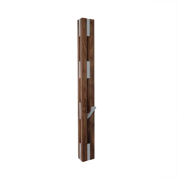 Knax Garderobenleiste Loca Nussbaum 2 x 4 senkrecht Haken silber