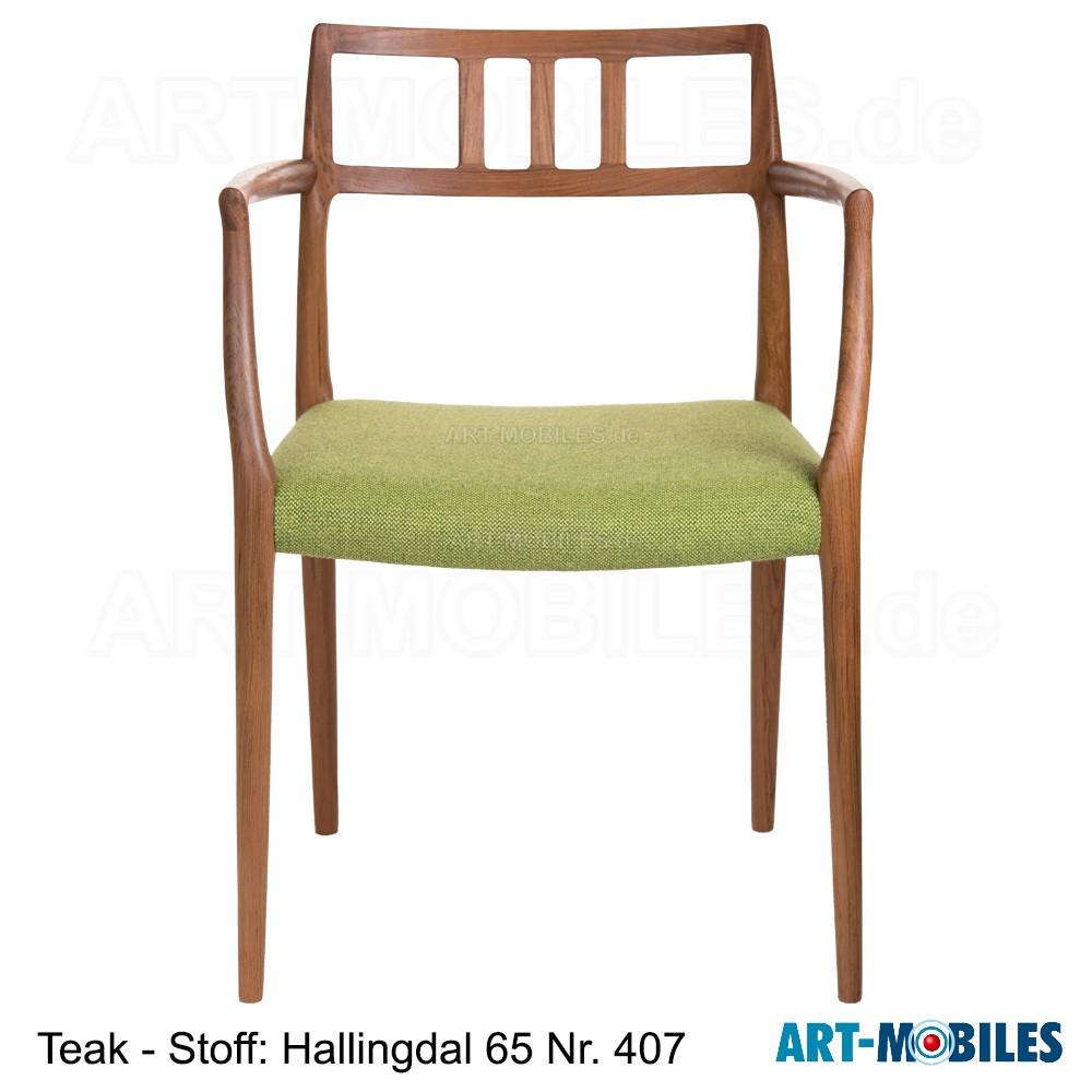 Möller Stuhl Nr. 64 Teak Hallingdal 65 Nr. 407 mit Armlehnen