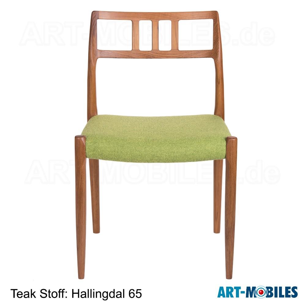 Möller Stuhl Nr. 79 in Teak mit Stoff Hallingdal 65
