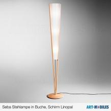 Seba Stehlampe in Buche, Schirm Lunopal - Domus
