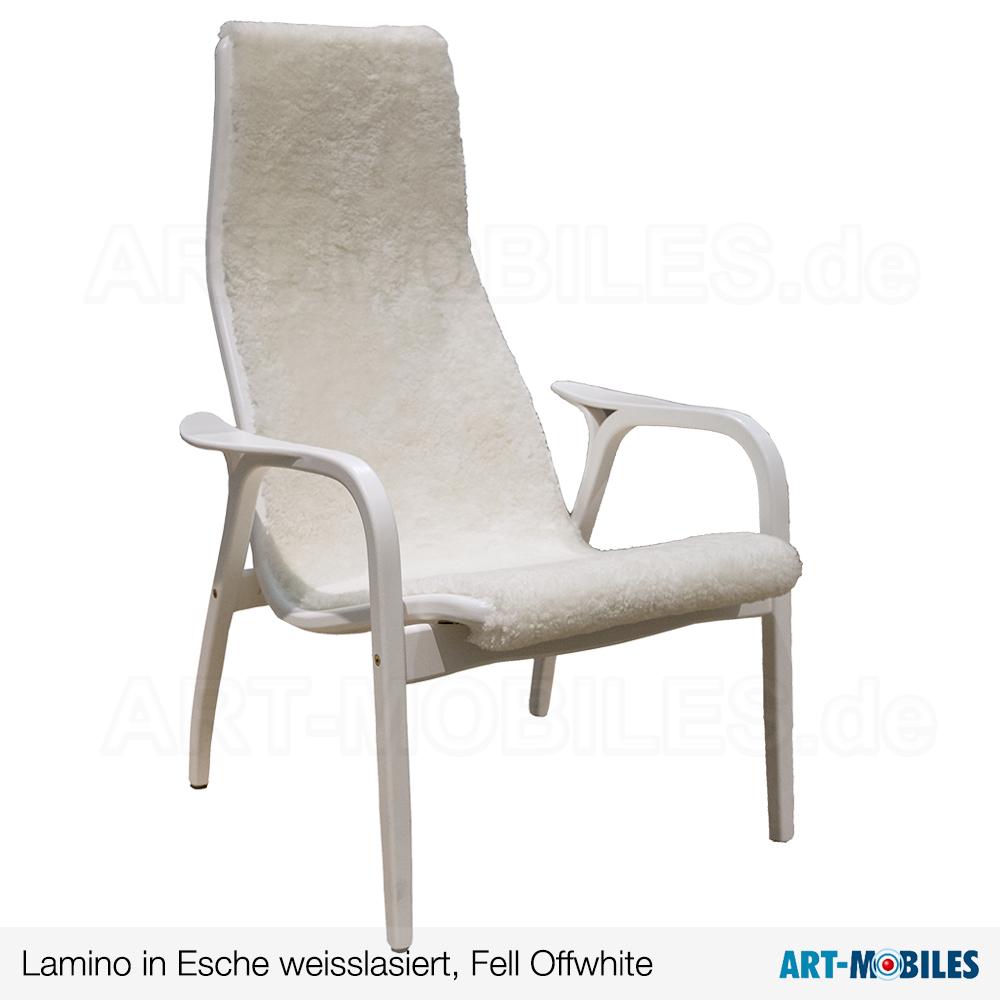 Lamino Sessel in Esche weiss lasiert mit Fell Offwhite