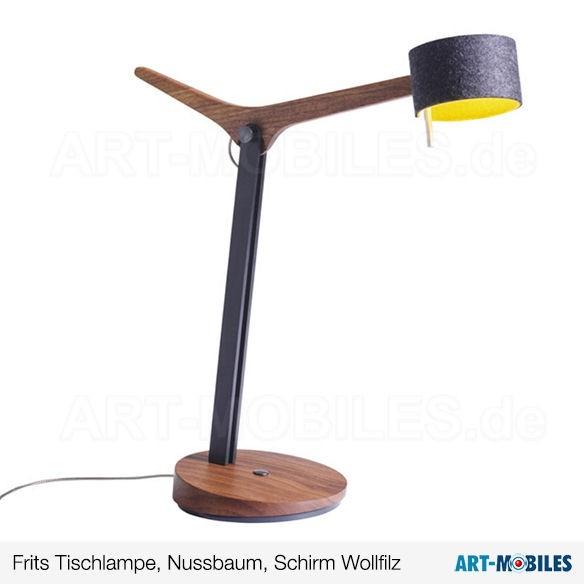 Frits Arbeitslampe Nussbaum Schirm Wollfilz 7141.13 Domus
