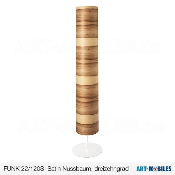 Stehleuchte FUNK 22/120S, Furnier Satin Nussbaum, dreizehngrad