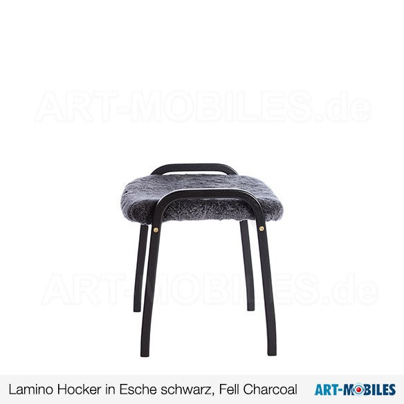Hocker Lamino Esche schwarz Fell Charcoal Swedese