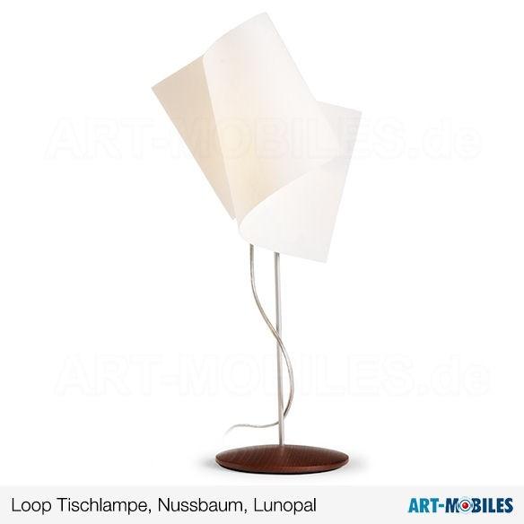 Loop Tischlampe Holz Zebrano Schirm Lunopal 7953.5208 Domus