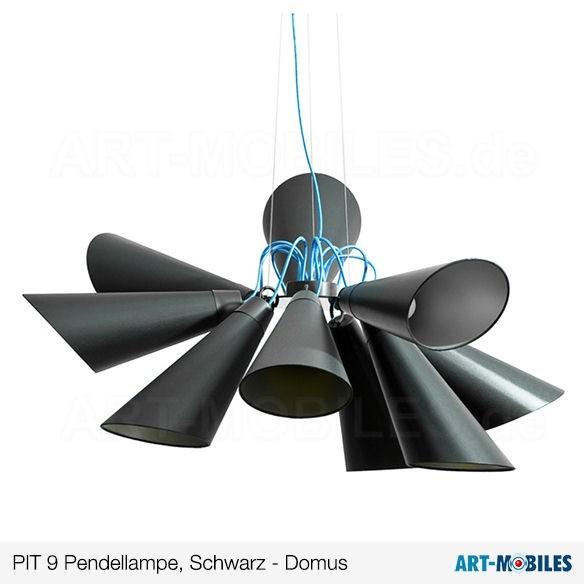 Pit Pendelleuchte 9 Metall schwarz Textilkabel blau 1965.1984