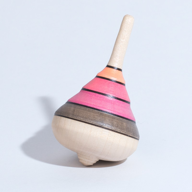 Harlekin Kreisel Braun-Pink-Orange Holzkreisel Mader
