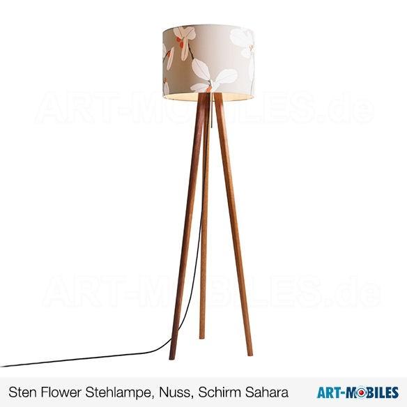 Sten Flower Stehlampe, Nussbaum, Schirm Sahara 6144.4411