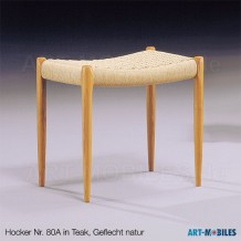 Hocker Nr. 80A in Teak mit Geflecht natur Möller