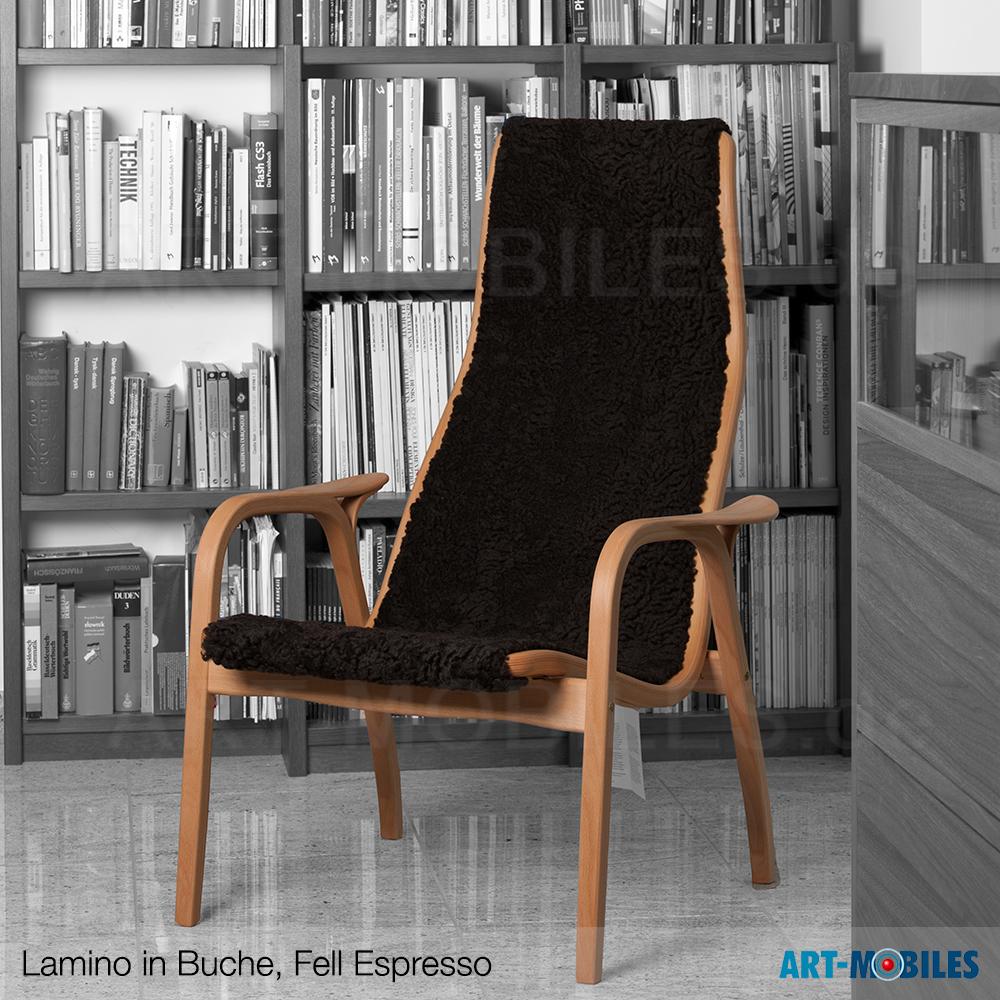 Lamino Sessel in Buche mit Fell Espresso braun