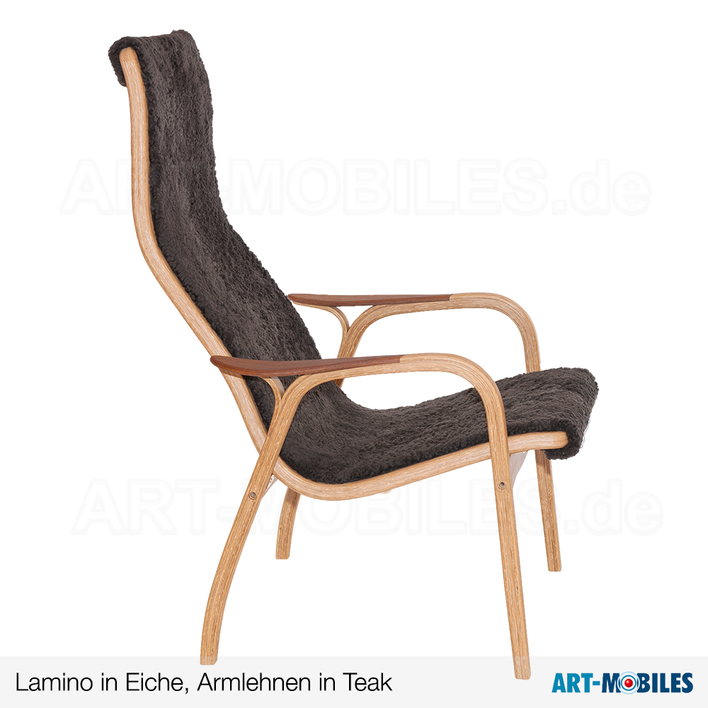 Lamino Sessel in Eiche mit Fell Espresso Arm Teak