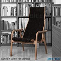 Lamino Sessel in Eiche mit Fell Espresso