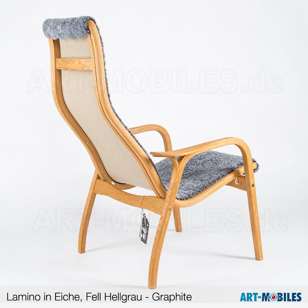 Lamino Sessel in Eiche mit Fell Graphite Back
